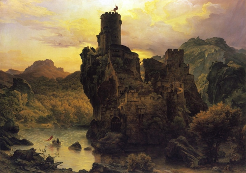 Carl Friedrich Lessing - paysage montagneux Ruines dans une gorge.jpg